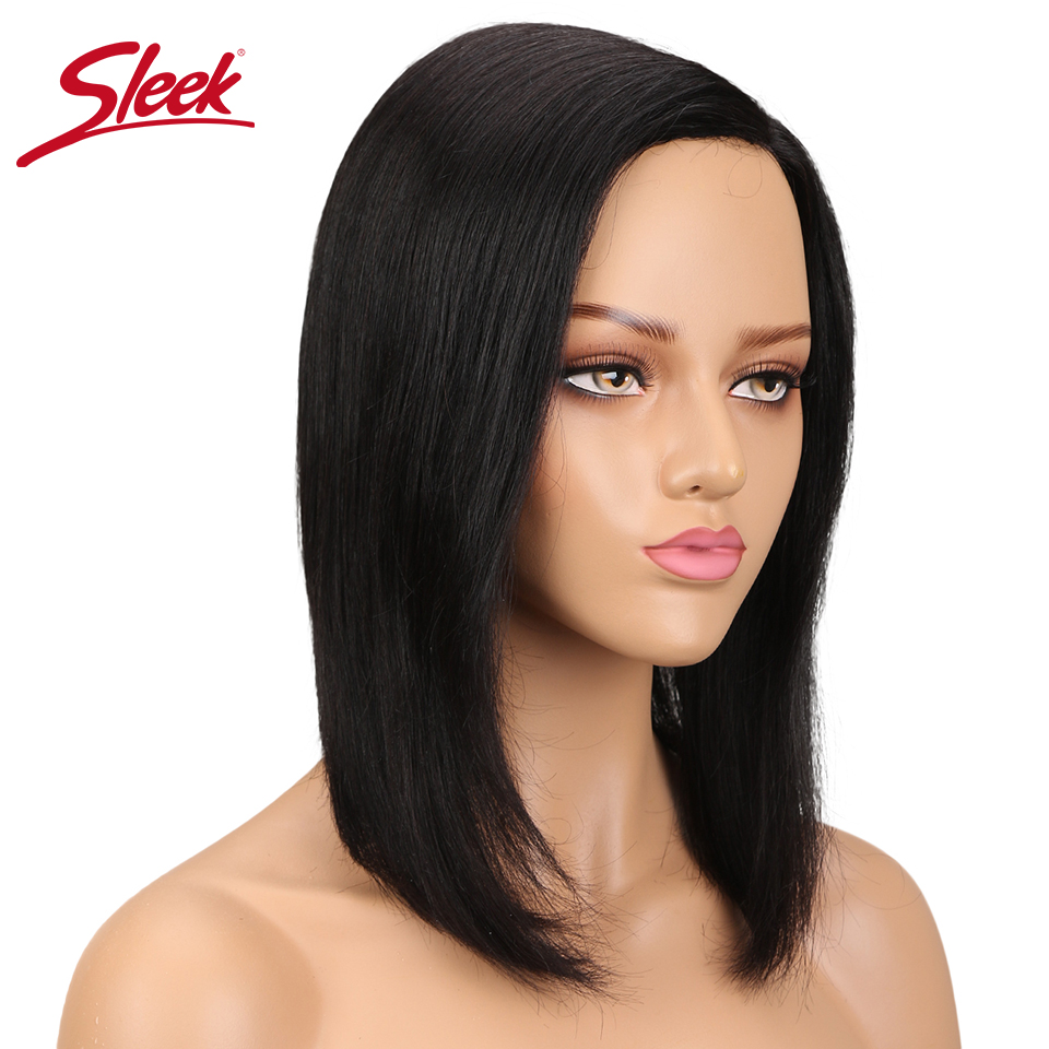 Sleek Brazilian Straight Wigs Non Lace Short Human Hair Wigs Side Part Remy Hair Bob Wig color 1B-in Human Hair Lace Wigs from Hair Extensions & Wigs    1