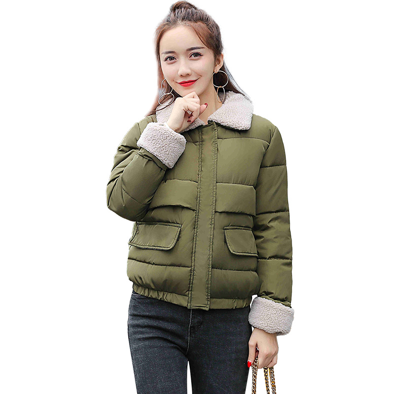 SZMXSS Women Autumn Winter Joker Jackts Short Thicken Warm Female Parkas Braed Overcoat Hairy Neck Casual Jacket
