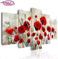 new drill Diamond embroidery red Poppy flowers 5D DIY diamond painting Cross Stitch Multi picture square/round home decoration