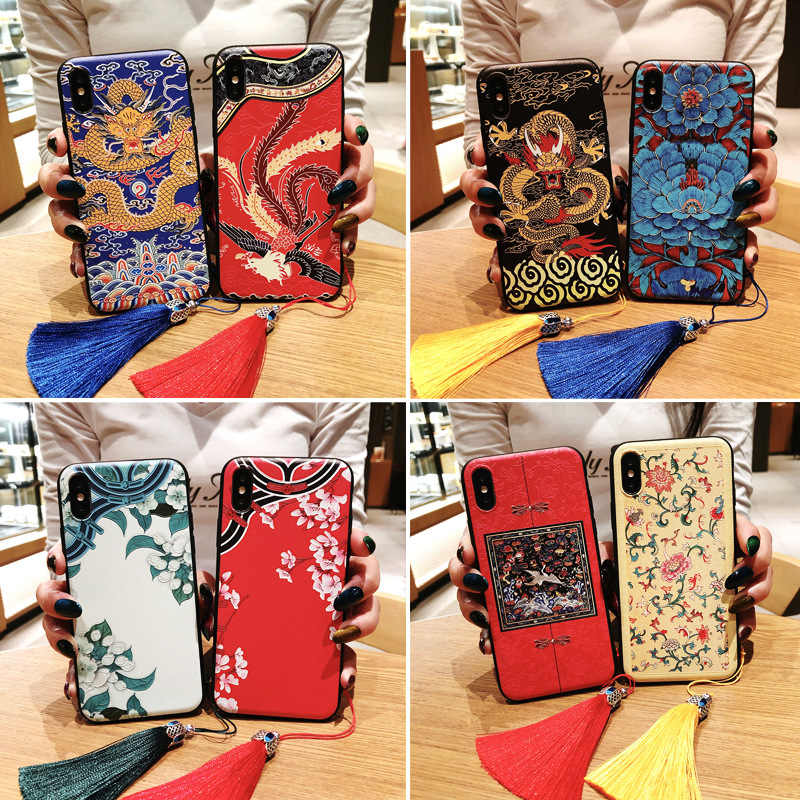 Huawei p20 pro chinese style  3D embossed tassel phone case for P20 P10 pro mate10 nova3  matte soft back cover