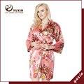 FR0003 Floral Robes De Seda De Cetim Mulheres Kimono Robe de Casamento Nupcial Da Dama de Honra Lady Spa Robe Noite Vestido Frete Grátis