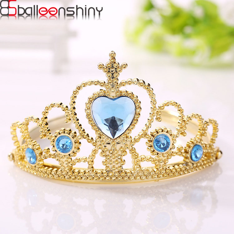 цена BalleenShiny Baby Girls Frozen Crown Princesses Accessories Crystal Diamond Tiara Hoop Headband Hair Bands Baby Gifts