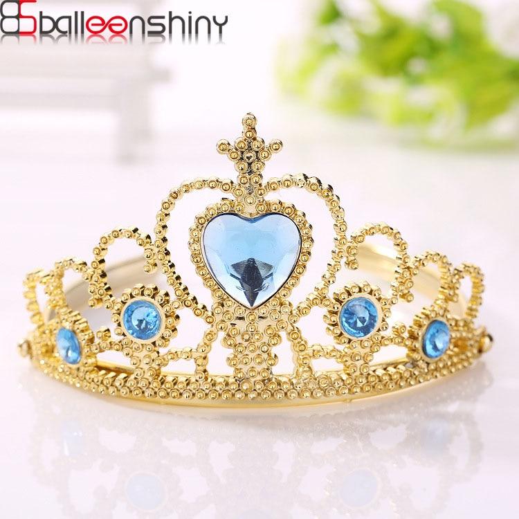BalleenShiny Baby Girls Frozen Crown Princesses Accessories Crystal Diamond Tiara Hoop Headband Hair Bands Baby Gifts