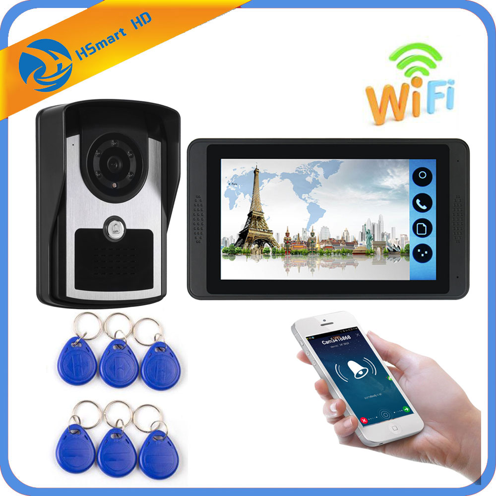 7inch Touch Screen Color Wifi Smart Video Door Phone Doorbell Kits With RFID Card Intercom Camera