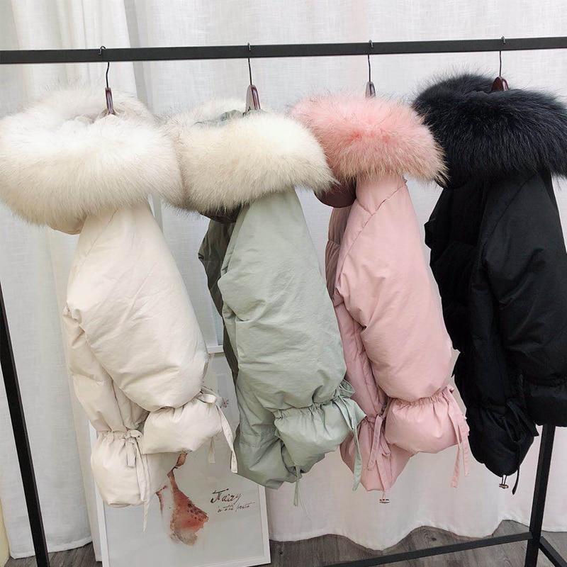 De Parkas Capuchon black Blanc Hiver Fourrure Lâche Laveur Raton Canard Lin Outwear Manteaux pink Grand Vestes Ly Chaud Varey Beige Moyen À green Femmes Duvet Naturel Long xtTw8TYSq