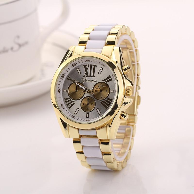 2018 New Brand Ladies Imitation Ceramic Quartz Watch Luxury Gold Watches Alloy Strap Women Dress Geneva Watch Zegarki damskie