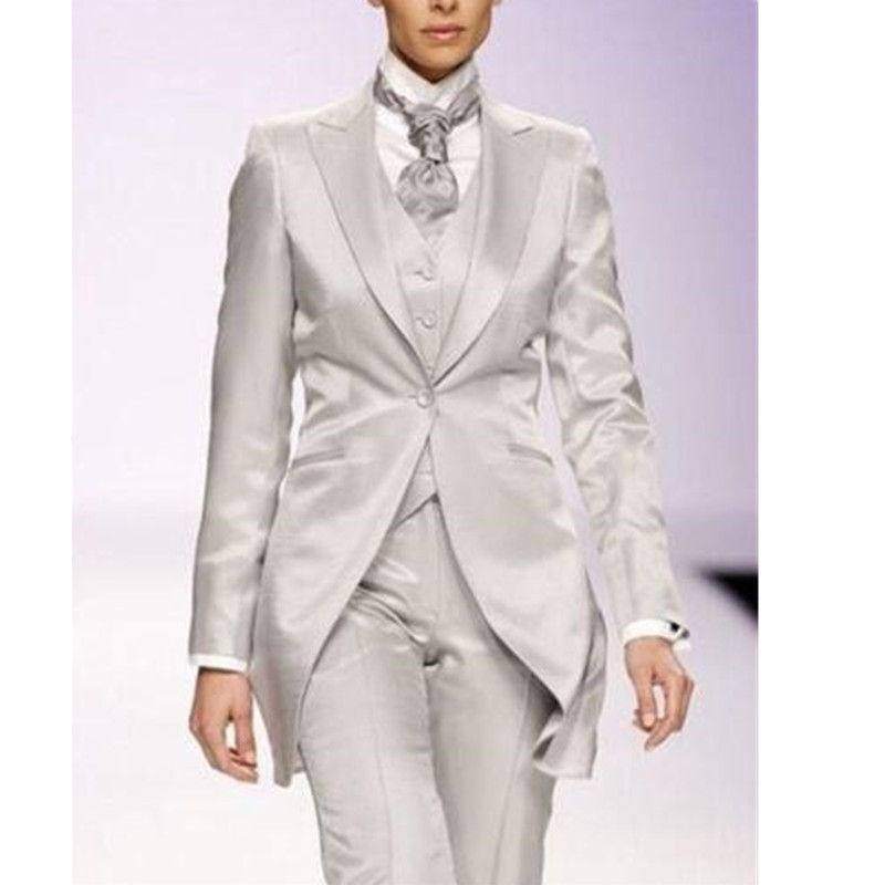Серебристо серый элегантный Для женщин костюм индивидуальные 3 предмета длинная куртка фраки дамы события StageTuxedo