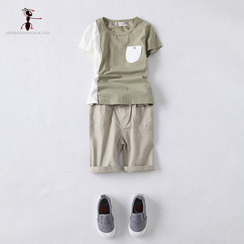 Kung Fu Ant 2017 New Arrival Summer Suits( T-shirt+ Shorts)  Boys Cool Fashion Clothes Home School Sports Clothing  2695