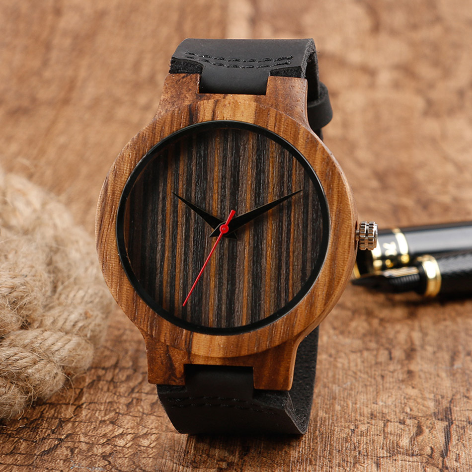 Creative Wood Watch Male Wristwatches Wooden Clock Men's Bamboo Leather Wood Watches Gift relogio de madeira (8)