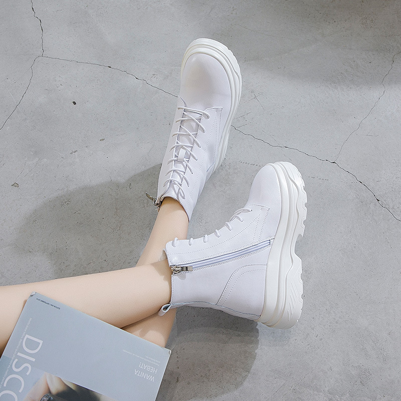 Genuine Leather White Shoes Snow Boots Woman Platform 2018 Female Fashion Casual Shoes High Top Increased