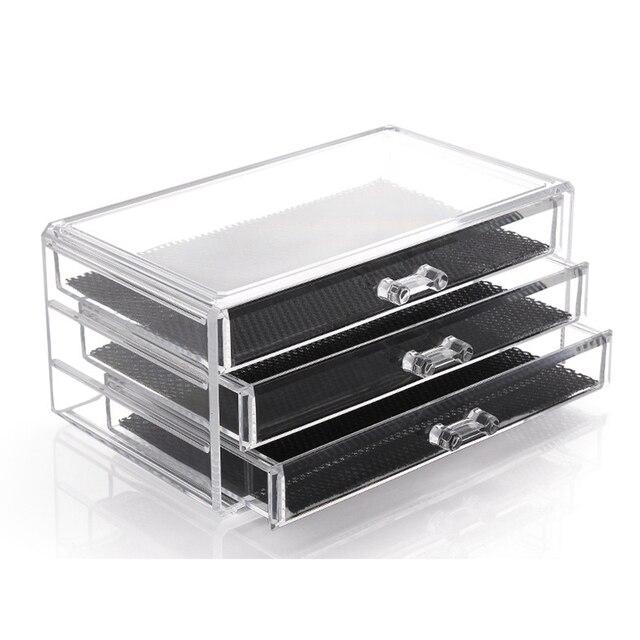 Us entrepôt gratuite 1 pc acrylique bijoux cosmétique 3 tiroirs boîte de Rangement organisateur pour le maquillage affichage Rangement Maquill moa0008