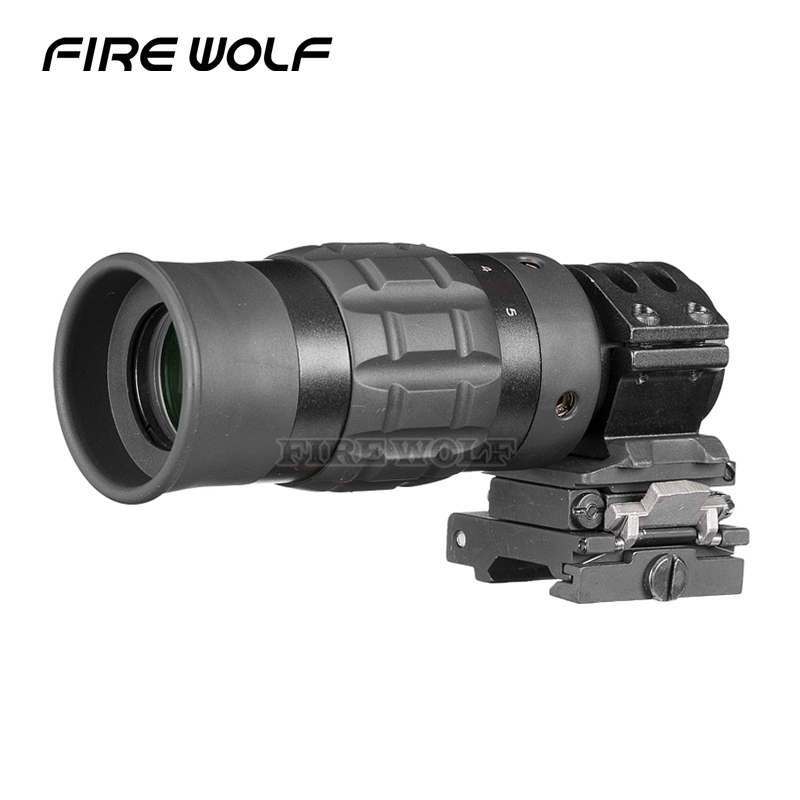 FIRE WOLF B Scope 1.5-5 Zoom Magnifier For Red Dot Sight 3x 4x 5x W/mount Free Shipping Airsoft Tracer Airsoft Mildot