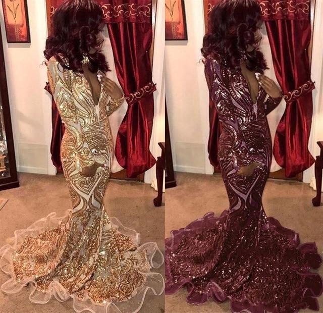 Vestidos De Gala Sexy Deep V-Neck Gold Sparkly Long Prom Dress 2019 Gorgeous Long Sleeve Mermaid Formal Party Dresses