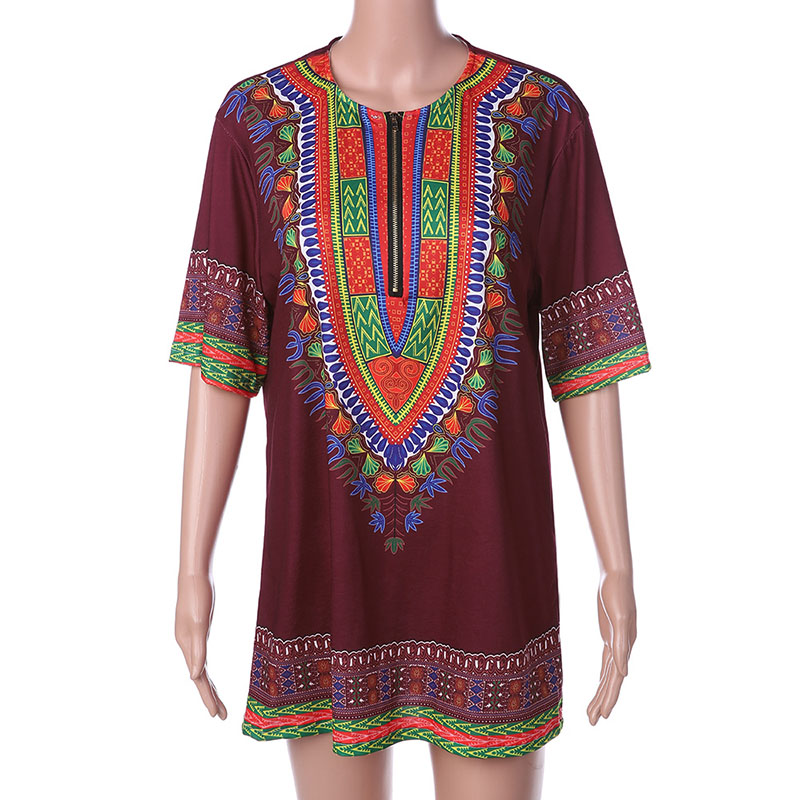 Summer Men African Print Shirt Short 1/2 Sleeves Claret O-Neck With Zip Tee Dashiki Pullover Long Length T-Shirt S-3XL For Men
