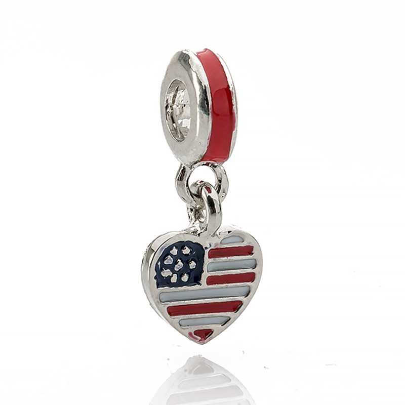 2018 High Quality Fashion New Red Free Shipping American Flag Beads Charm Fits Pandora Charms Bracelets & Necklaces DIY Gift
