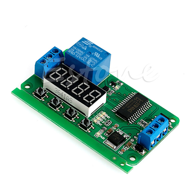 DC 12V Multifunction Self-lock Relay PLC Cycle Timer Module Delay Time Switch 12v timing delay relay module cycle timer digital led dual display 0 999 hours