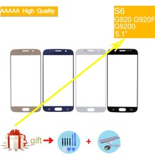 For Samsung Galaxy S6 G920 G920F G9200 SM-G920 Touch Screen Front Glass Panel TouchScreen Outer Glass Lens NO LCD 5pcs free dhl original replacement for samsung s6 g9200 sm g920 g920f g920i g920x lcd display with touch screen digitizer