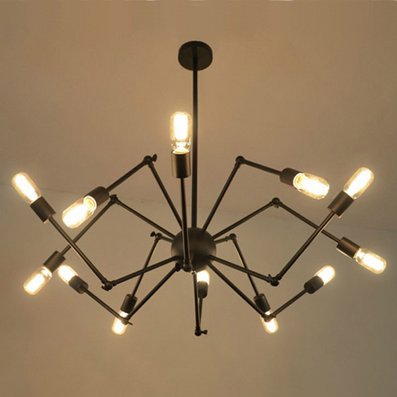 Classic Painting Spider Pendant Light Retro Black Iron Industrial Hanging Spider Lamp Stretch Droplight For Living Room Bedroom