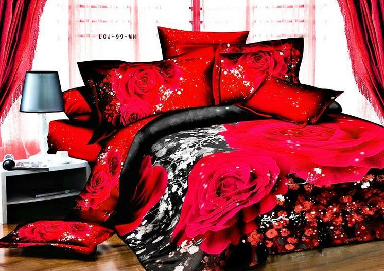 Black And Red Rose Bedding Set Duvet Covers Print Design Bed Sheet Bedspread Quilts Linen Queen Full Size Double Bedsheet In Sets From Home