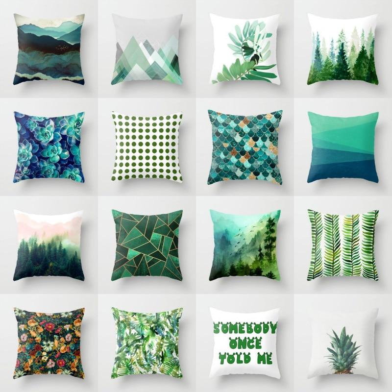 Elife Retro Green Leaves Cactus Linen Cotton Cushion Case Polyester Home Decor Bedroom Decorative Sofa Car Throw Pillows 45*45cm