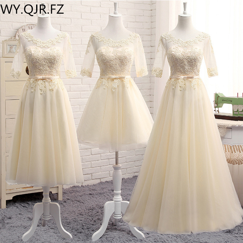 MNZ-5608X#half Sleeve Round Embroidery Lace Up Spring 2019 New Party Dress Medium Long Short Style Champagne Bridesmaid Dresses