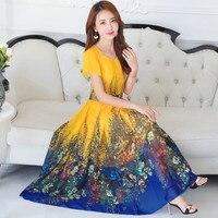 Plus Size 4XL Chiffon Dress Women Middle Aged Short Sleeve Summer Bohemian Dress Printing Maxi Long Beach Dress Vestidos C4302