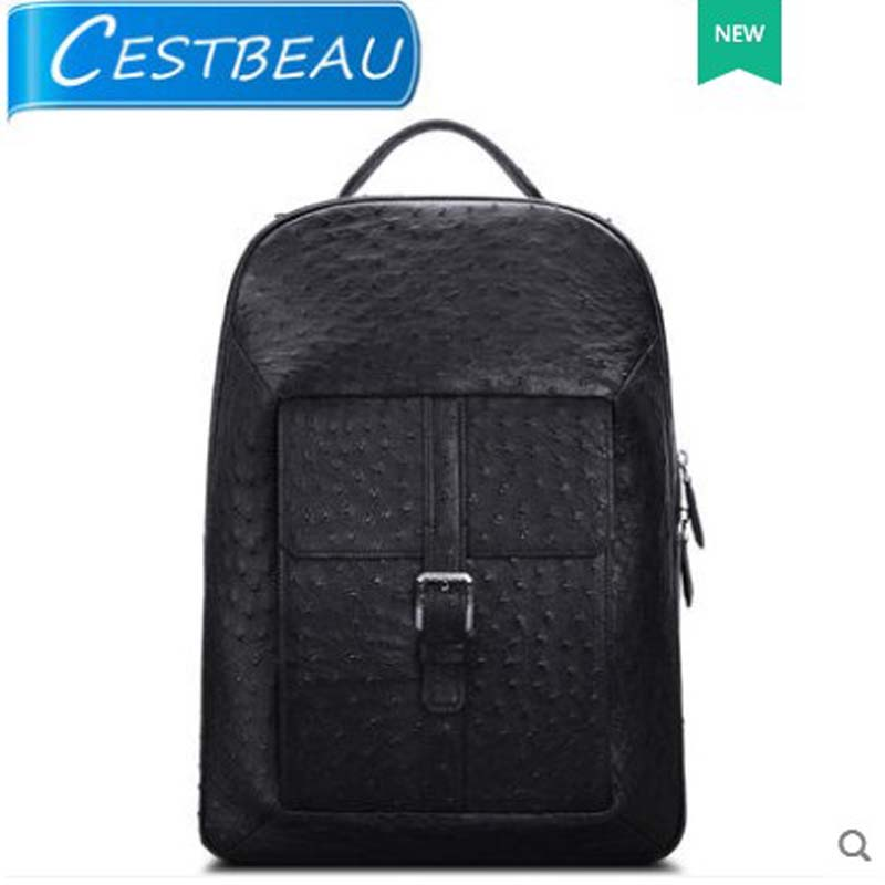 Cestbeau Ostrich Skin Ostrich leather double shoulder men backpack leisure business handmade South Africa KK Large capacity cestbeau ostrich skin male bag briefcase south africa business ostrich leather handbag with lock men handbag