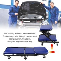 Z Shape 36 Inch 360 Degree Rotatable Wheels Foldable Car Repairing Plate Creeper Seat Convertible To Stool Maintenance Tool J353