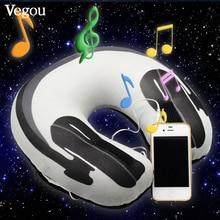 Vegou Musical Almohada Almohada Para Dormir Caliente Auriculares De Impresión Simple Altavoz Cuello Almohada de Viaje en forma de U Resto de Espuma Avión Almohada