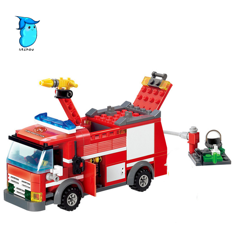 StZhou 206pcs FireTruck Building Blocks Firefighter Toys Bricks city Educational DIY Bricks toys playmobile