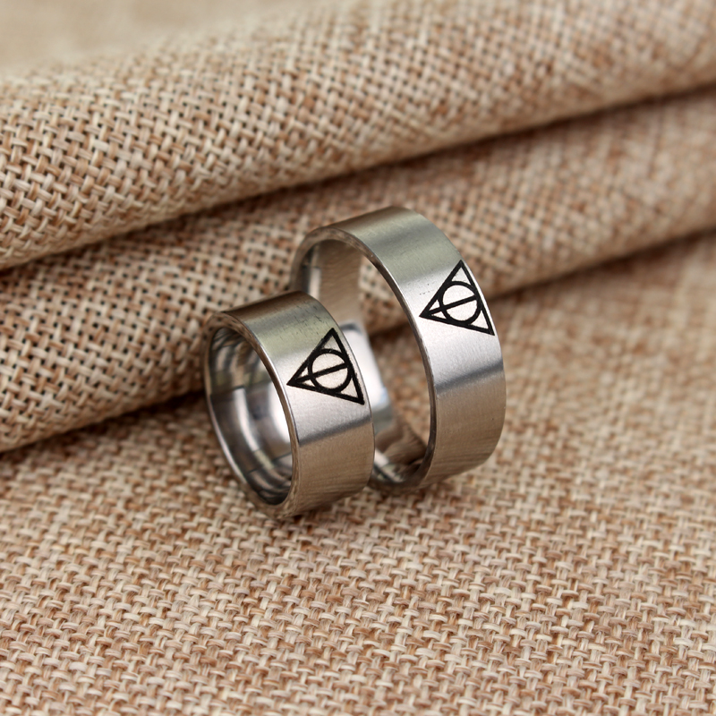 Movie Jewelry HP Death magic Triangle Stainless Steel Ring