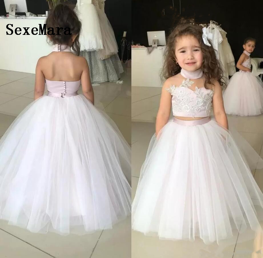 Two Pieces 2019 Little Girls Dresses for Wedding Ball Gown Backless Girls  Formal Party Wear Birthday 29261c73c925