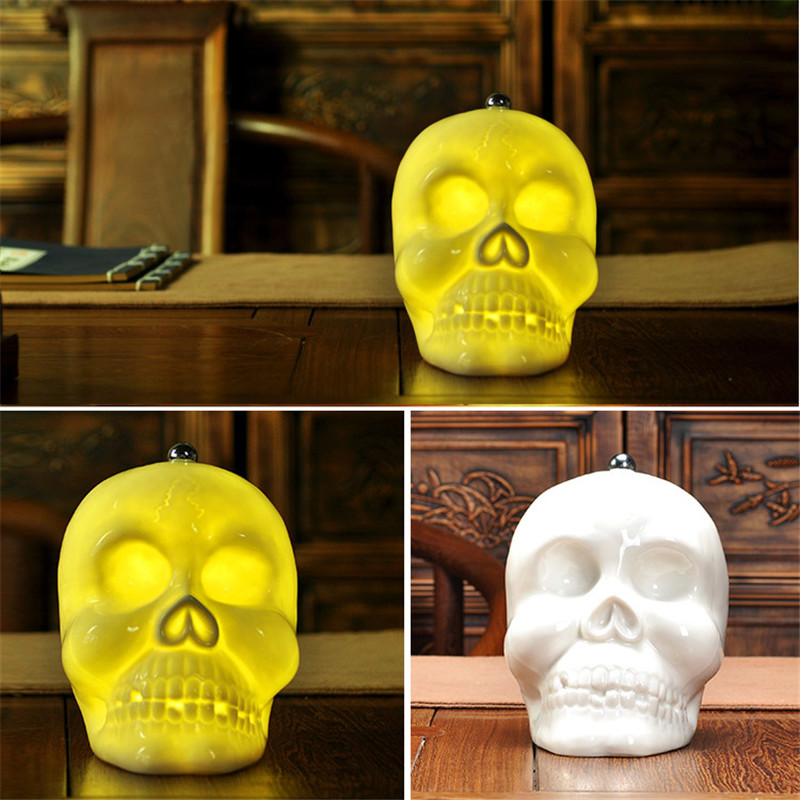 Novelty Skull Ceramic Table Lamp For Bedroom Desk Lamp Night Light luminaria de mesa For Kid's Room veilleuse enfant Night Lamp 5 colors ceramic table lamp for living room desk lamp luminaria de mesa for kid s room