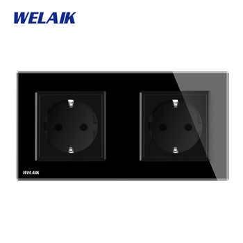 WELAIK Glass-Panel Wall-Socket-Wall Outlet-Black-European Standard-Power-Socket AC110~250V A28E8EB - Category 🛒 Lights & Lighting