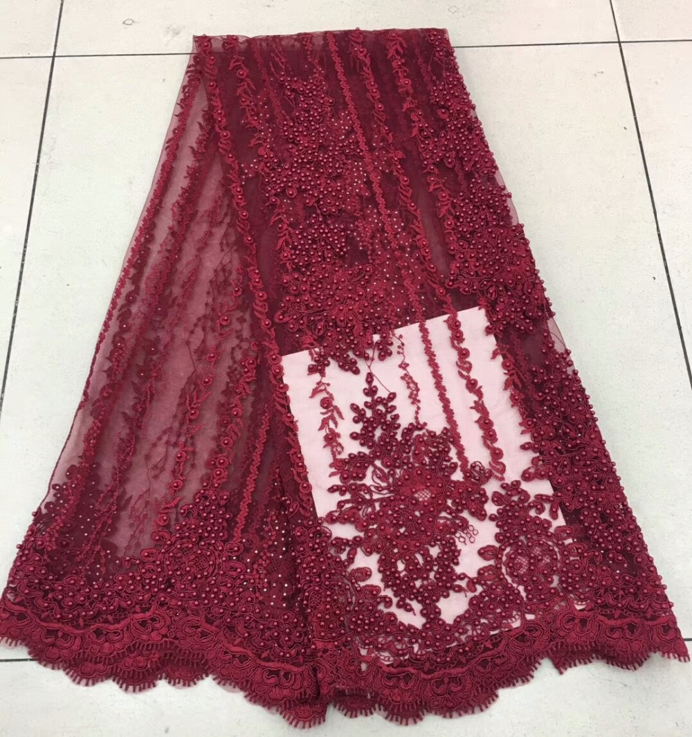 3d dentelle tissu de luxe tissu nigérian français lourd dentelle tissu Dribbling brodé africain perlé français dentelle tissu MJKY475