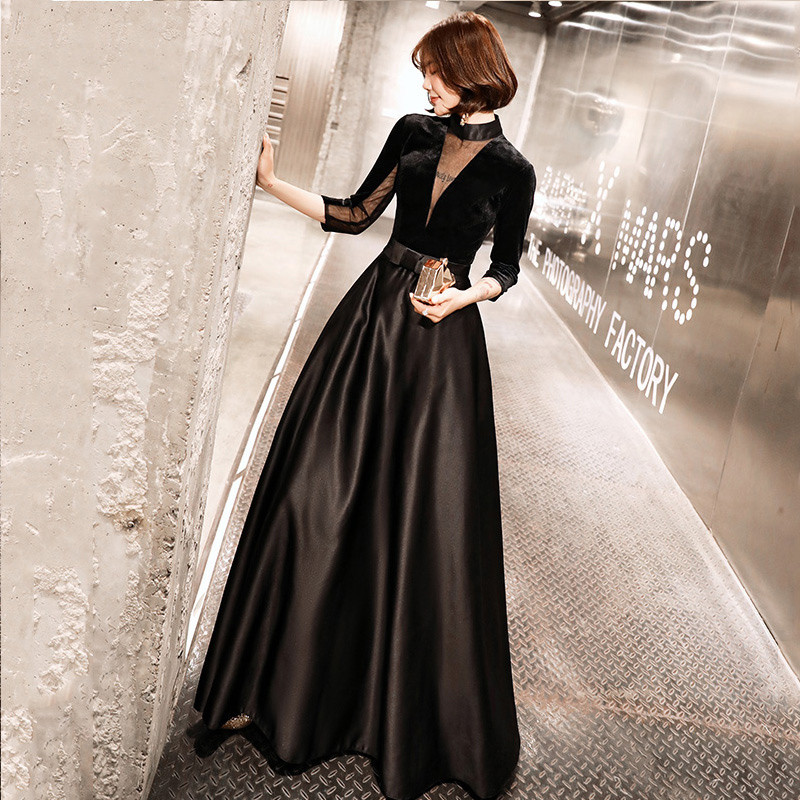 2019 New High-end Evening Dress The Bride Vintage Black Long Sleeved Velour With Satin Luxury Prom Party Gown LYFY123