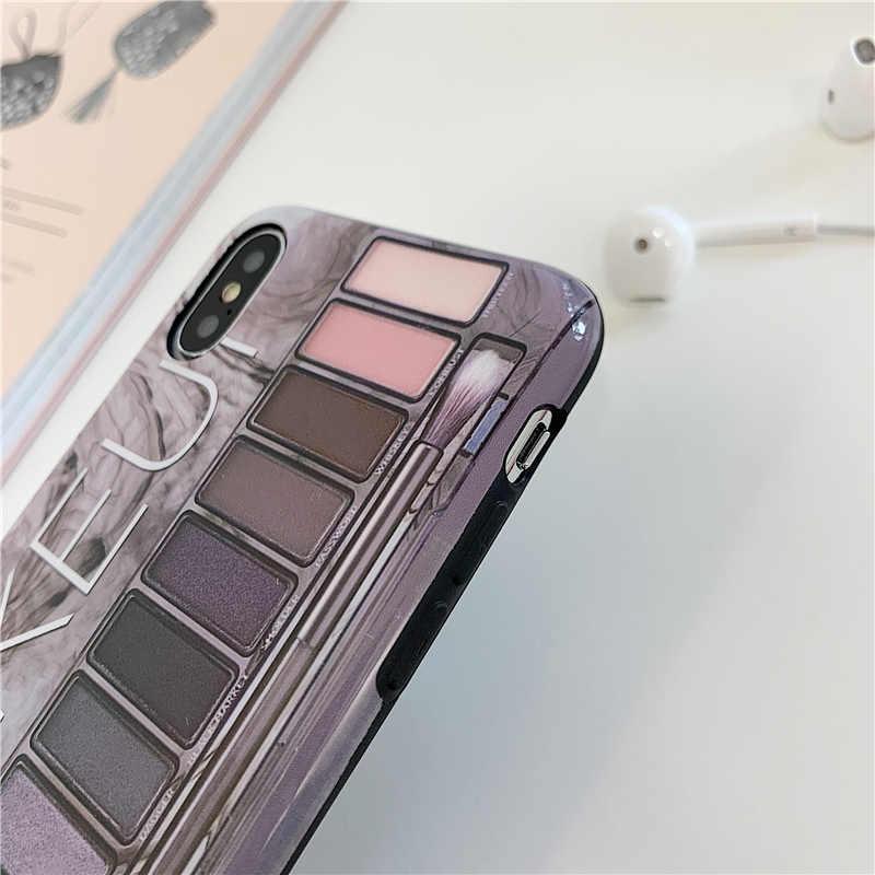 อายแชโดว์แต่งหน้า Palette สำหรับ iphone XS Max XR XS 11 11Pro Max สำหรับ iphone 6 6s 7 8 plus soft ซิลิโคนกรณี