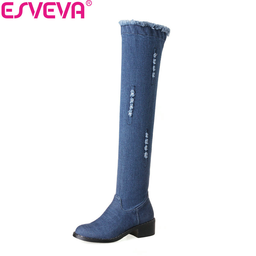 ESVEVA 2018 Denim Women Boots Blue Party Over Knee High Boots Sexy Square Med Heels Sexy Autumn Ladies Fashion Boots Size 34-43 sexy women denim light blue skinny jeans crochet lace party female carve flower pants for women plus size s 3xl clothing k096