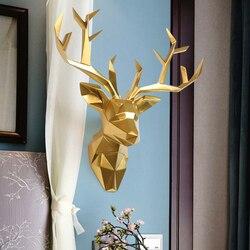 Cabeça de veado resina decoração para casa animais vida selvagem escultura figurinhas presente artesanato decoração para casa escultura estátua de madeira