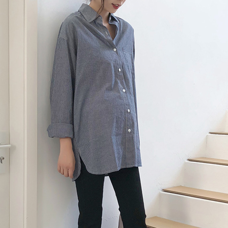 Spring Autumn Maternity Long Blouse Pregnancy New Nursing Tops Soft Thicken Maternity Striped Comfortable Shirts Women Clothing