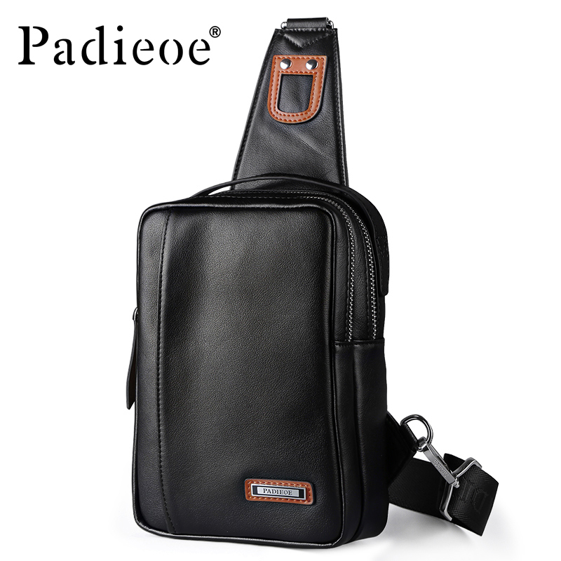 04ef0c0e0322 Padieoe Men s Travel Bag for Cell Phone Crossbody Bag Genuine Leather Men  Chest Pack Male Handy