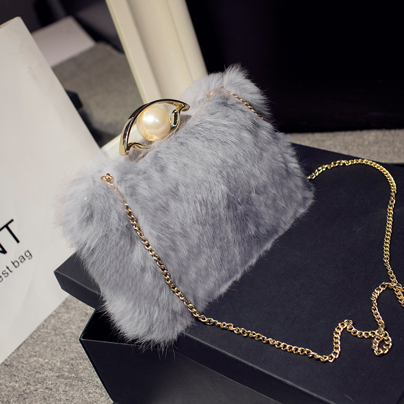 LYKANEFU Winter Evening Bag with Fur Clutch Purse Pearl Women Bag Day Clutches Ladies Party Hand Bag Chain Phone Package