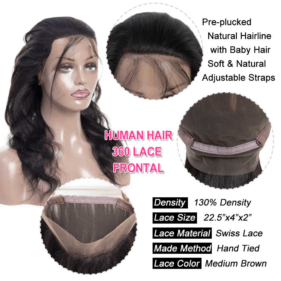 "Gabrielle Indian Body Wave Pre plucked 360 Lace Frontal with Bundles 8""-30"" Human Hair Weave Natural Color Remy Hair Extensions"