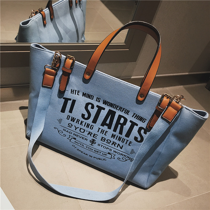 Luxury Ladies Bags Canvas Fashion Large Capacity Tote Bags Letter Shoulder Messenger Bags for Women 2018 Casual Tote Luis Vuiton 4