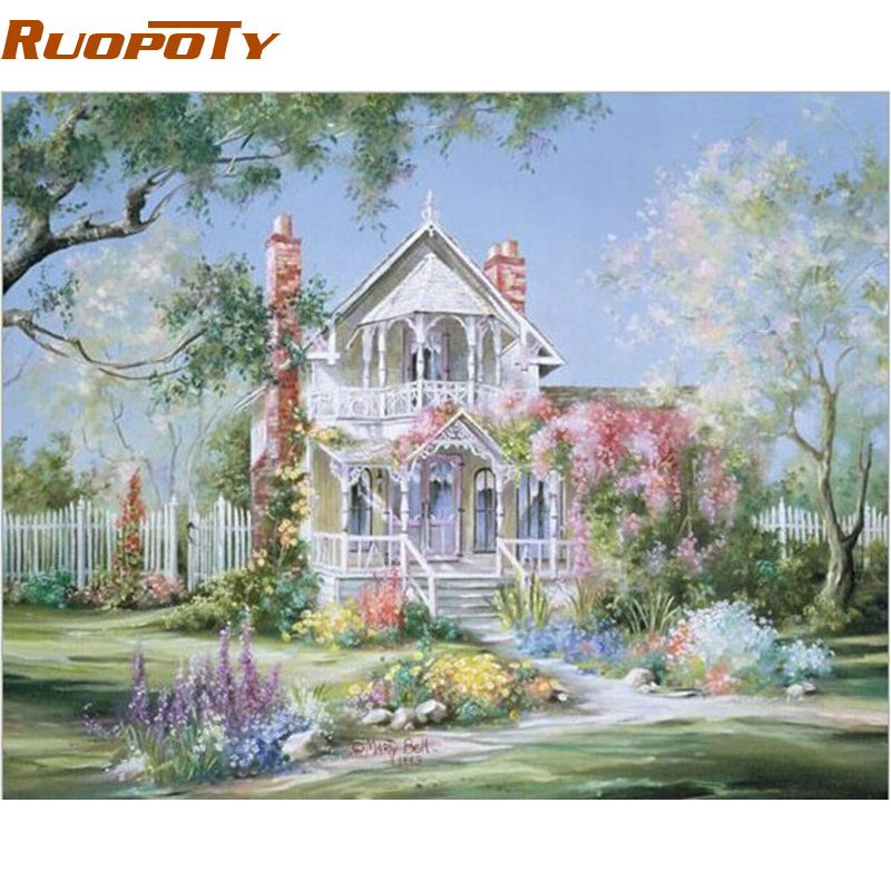 RUOPOTY Frame Landscape House DIY Painting By Numbers Handpainted Oil Painting Home Wall Art Picture For Living Room 40x50cm