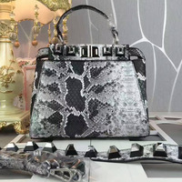 Python Snake Pattern Kitten Handbag Simple Lines And Full Of Bristle Strap Design Made Of Leather