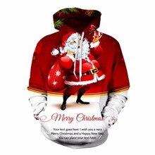 2017 fashion Xmas Santa Claus hip hop sweatshirts 3d print womens/mens pullover males hooded long sleeve T shirts hoodies wear