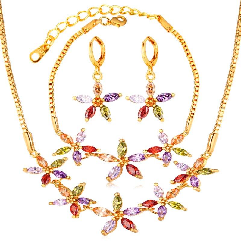 Kpop nouveaux ensembles de bijoux en zircone collier boucles d'oreilles Bracelet couleur or Floral Tourmaline bijoux de mode pour les femmes S225
