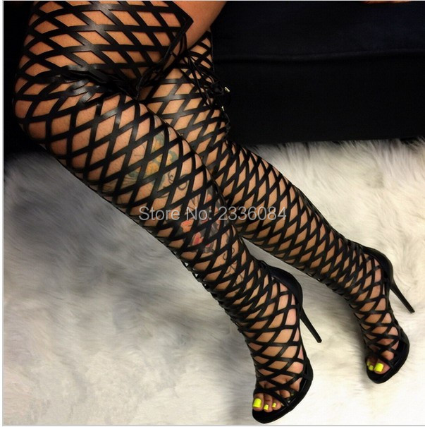 2017 New Sexy Cut Outs Lace Thigh high Boots Over the Knee Fretwork Gladiator High heels Cage Sandals leather Boots for Women