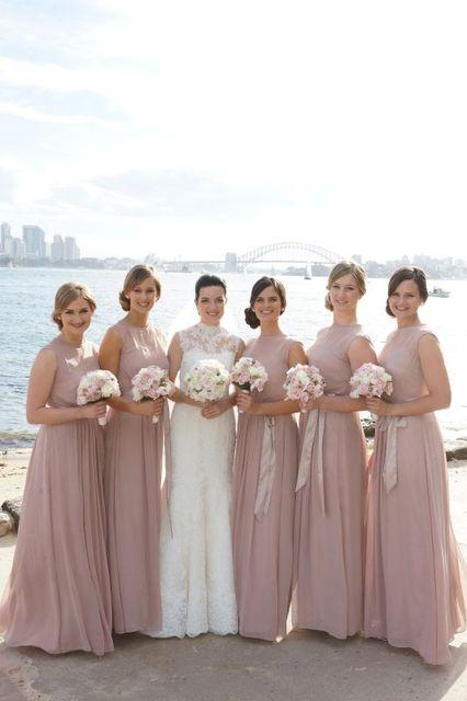 55435ffbb66 wejanedress Simple Sleeveless A-line Chiffon Long Dusty Pink Bridesmaid  Dresses Cheap robe demoiselle d honneur 2017